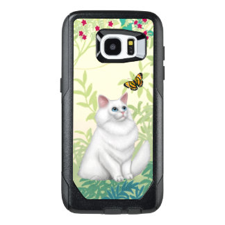 White Persian Cat and Butterfly Samsung Galaxy Cas