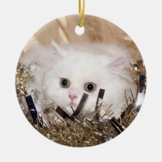 White Persian cat Christmas Ceramic Ornament