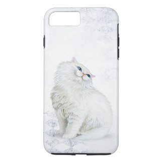 white Persian cat on silver diamond pattern iPhone 8 Plus/7 Plus Case