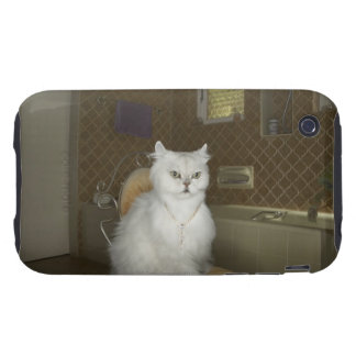 White persian cat sitting on chair in bathroom iPhone 3 tough cases