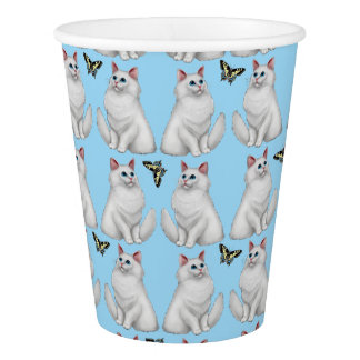 White Persian Cat with Butterfly Paper Cups Paper Cup