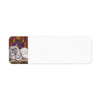 WHITE PERSIAN CHURCH CAT Avery Label Return Address Label