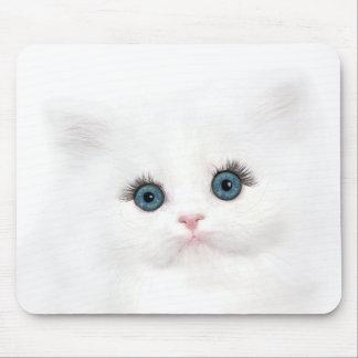 White persian kitten face mouse pad