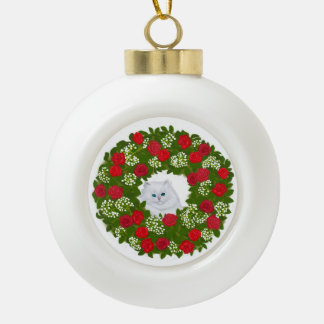 White Persian Kitten in Christmas Wreath Ornament