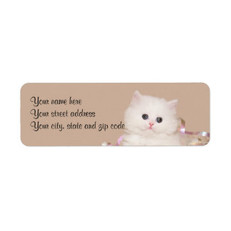 White Persian kitten Return Address Label