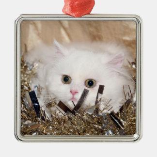 White Persian kitty cat Christmas Metal Ornament