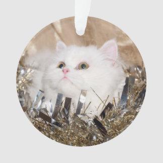 White Persian kitty cat Christmas Ornament