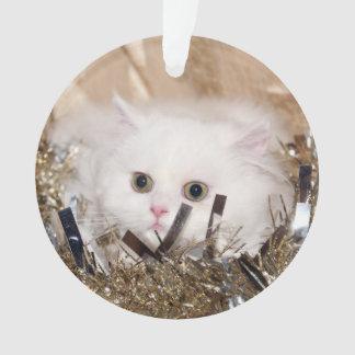 White persian kitty Christmas Ornament