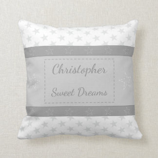 White Personalized baby name gray stars Throw Pillow