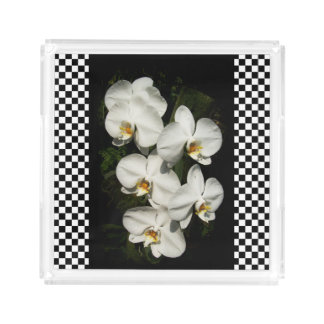 White phalaenopsis orchids serving tray