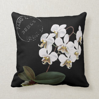 White Phaleanopsis Redouté Illustration Throw Pillow