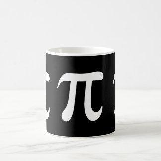 White pi symbol on black background coffee mug