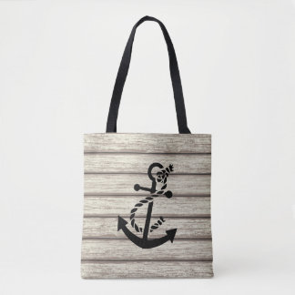 White Piling Paint Wood Plans Black Boat Anchor Tote Bag