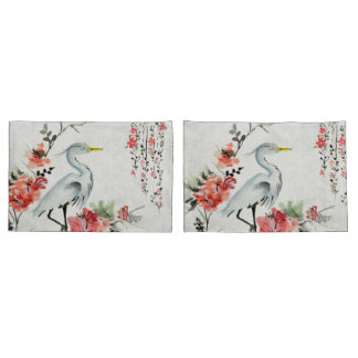 white pillow cases Asian flower crane