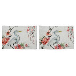 white pillow cases Asian flower crane Pillowcase