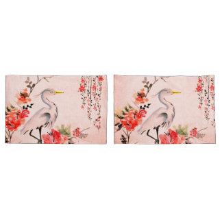 white pillow cases Asian flower crane pink salmon