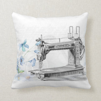 White Pillow Vintage Sewing Machine Blue Flowers