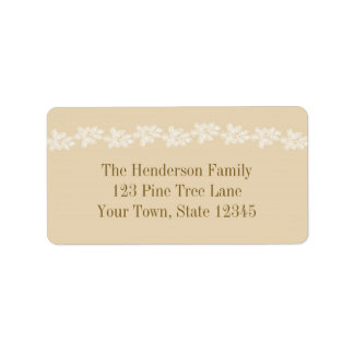 White Pine Branches on Tan Label