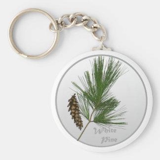 White Pine Tree Basic Round Button Keychain