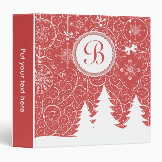 White pine trees and snowflakes on red Christmas Vinyl Binder