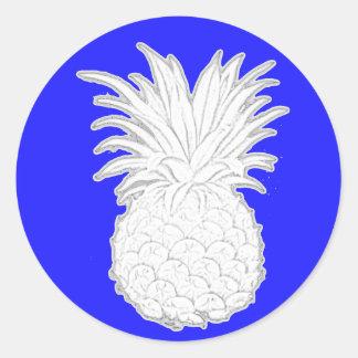 white pineapple classic round sticker