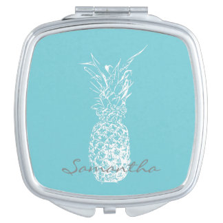 White Pineapple Compact Mirror