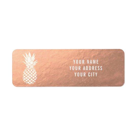 white pineapple on rose gold return address label
