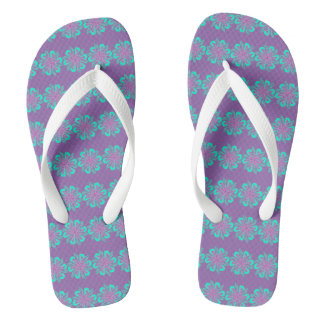White, Pink And Blue Floral Graphic Flip Flops