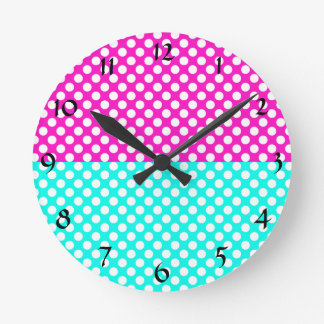 White, Pink and Blue Polka Dot Round Clock