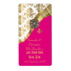 White, pink and gold damask wedding wine bottle
