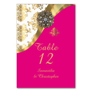 White, pink and gold vintage damask wedding table card