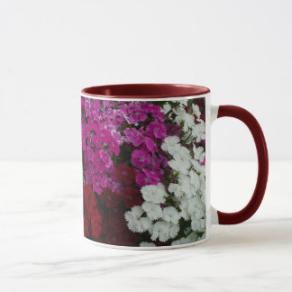 White, Pink and Red Dianthus Floral Photography Mug