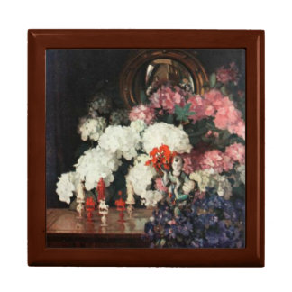 White Pink Blue Bouquet Oriental Statues Art Gift Box