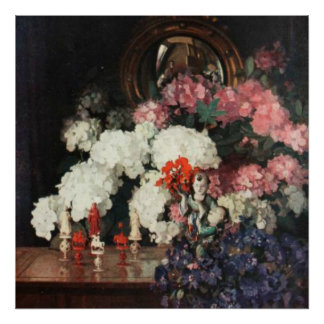 White Pink Blue Bouquet Oriental Statues Artwork Poster