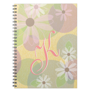 White & Pink Daisies & Colored Circles Monogram Notebook