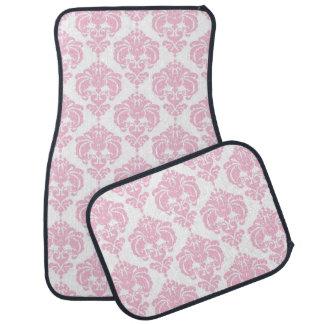 White & Pink Damask Modern Trendy Pattern Glam Car Mat