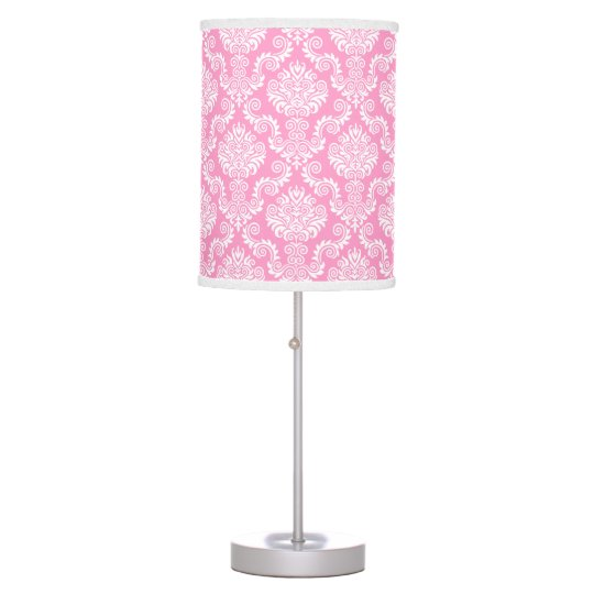 White & Pink Damask Pattern{pick your colour} Table Lamp