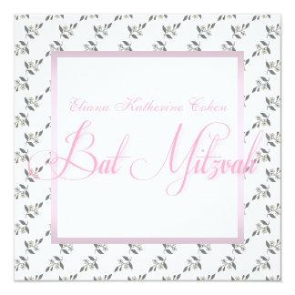 White Pink Floral Bat Mitzvah Invitations