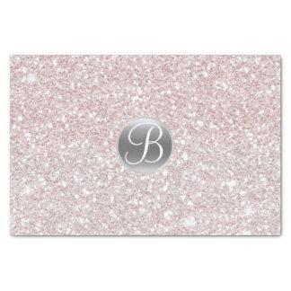White Pink Glitter Sparkle Glam Monogram Initial Tissue Paper