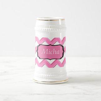 White & Pink Glossy Chevron Monogram 18 Oz Beer Stein