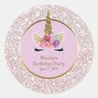 White Pink Gold Glitter Glam Unicorn Party Favour Classic Round Sticker