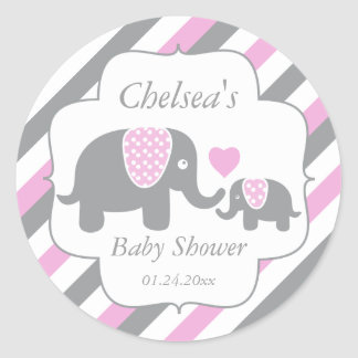 White, Pink & Gray Stripe Elephants Baby Shower Classic Round Sticker