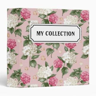 White pink Hydrangea floral seamless pattern 3 Ring Binder