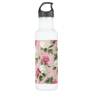 White pink Hydrangea floral seamless pattern 710 Ml Water Bottle