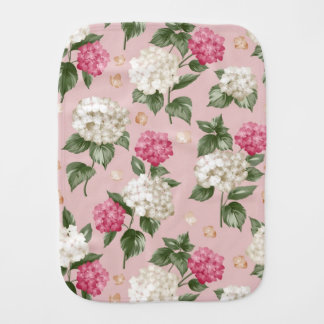 White pink Hydrangea floral seamless pattern Baby Burp Cloth