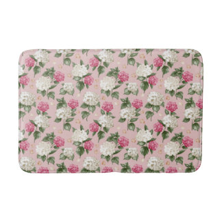 White pink Hydrangea floral seamless pattern Bathroom Mat