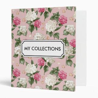 White pink Hydrangea floral seamless pattern Binders