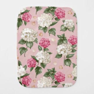 White pink Hydrangea floral seamless pattern Burp Cloth