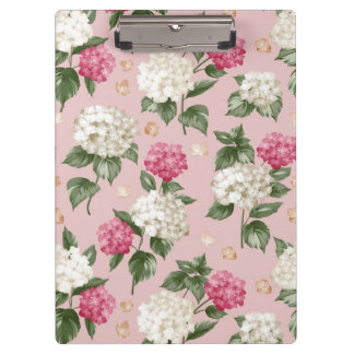 White pink Hydrangea floral seamless pattern Clipboards