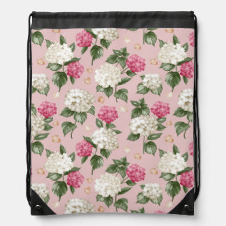 White pink Hydrangea floral seamless pattern Drawstring Bag